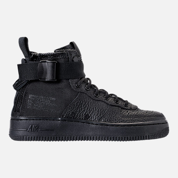 Right view of Boys' Grade School Nike SF Air Force 1 Mid Casual Shoes in Black/Black