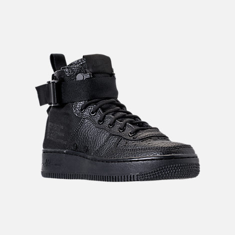 Three Quarter view of Boys' Grade School Nike SF Air Force 1 Mid Casual Shoes in Black/Black