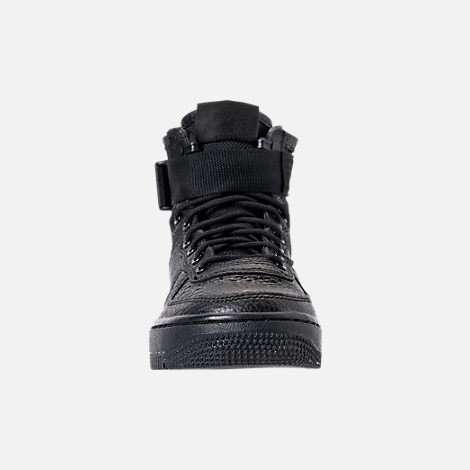 Front view of Boys' Grade School Nike SF Air Force 1 Mid Casual Shoes in Black/Black