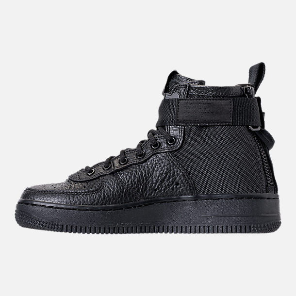 Left view of Boys' Grade School Nike SF Air Force 1 Mid Casual Shoes in Black/Black
