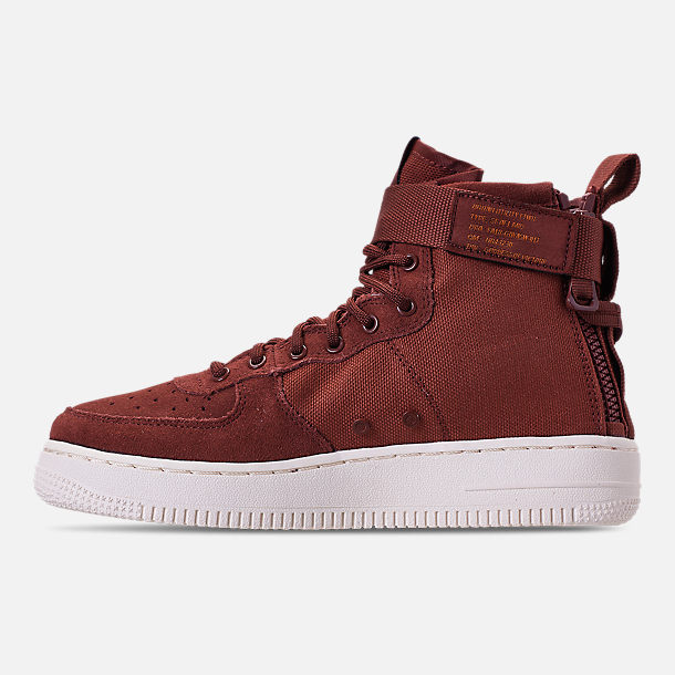 Left view of Boys' Big Kids' Nike SF Air Force 1 Mid Casual Shoes
