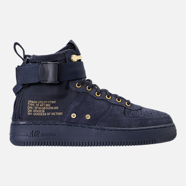 Right view of Boys' Grade School Nike SF Air Force 1 Mid Casual Shoes in Obsidian