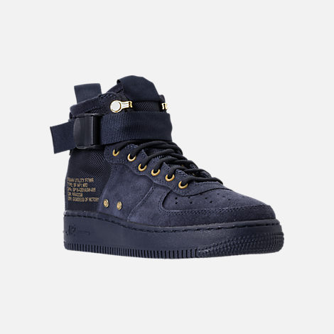 Three Quarter view of Boys' Grade School Nike SF Air Force 1 Mid Casual Shoes in Obsidian