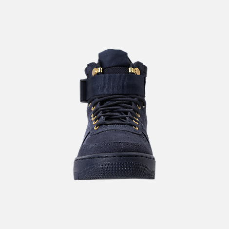 Front view of Boys' Grade School Nike SF Air Force 1 Mid Casual Shoes in Obsidian
