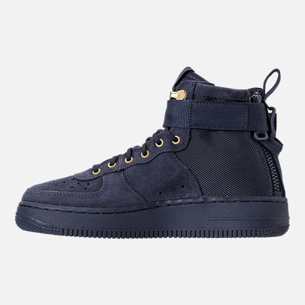Left view of Boys' Grade School Nike SF Air Force 1 Mid Casual Shoes in Obsidian