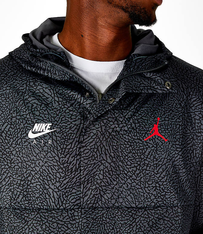Detail 1 view of Men's Jordan Sportswear Wings 1988 Anorak Jacket in Dark Grey/Gym Red
