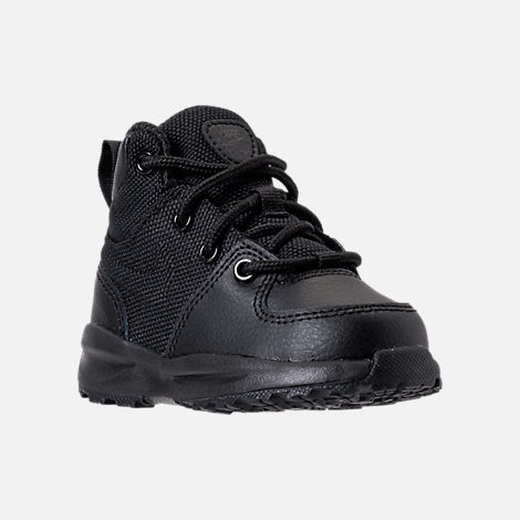 Three Quarter view of Boys' Toddler Nike Manoa '17 Boots in Black/Black/Black