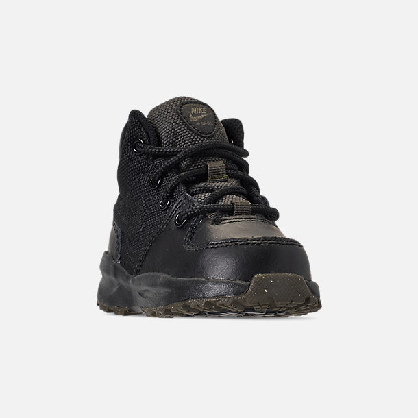 Three Quarter view of Boys' Toddler Nike Manoa '17 Boots in Black/Black/Newsprint