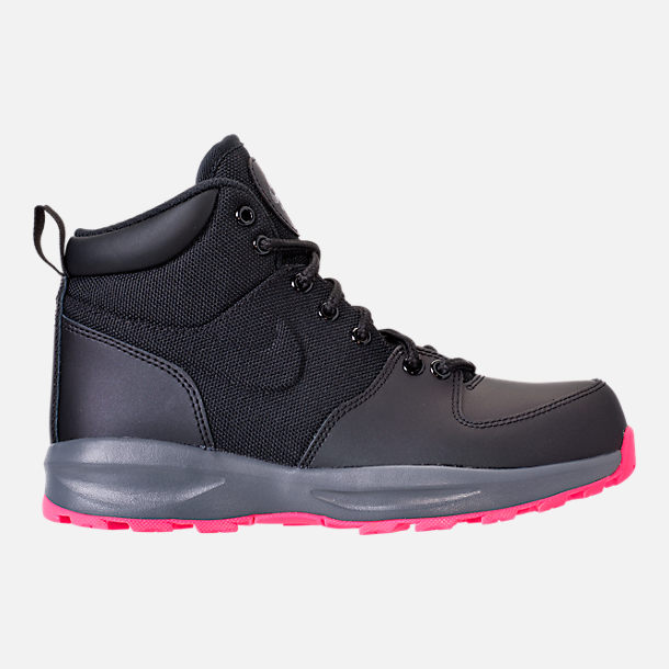 Right view of Girls' Grade School Nike Manoa '17 Boots in Black/Hyper Pink