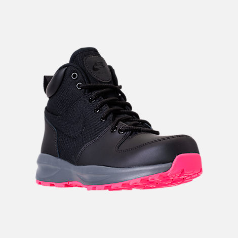 Three Quarter view of Girls' Grade School Nike Manoa '17 Boots in Black/Hyper Pink