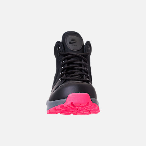 Front view of Girls' Grade School Nike Manoa '17 Boots in Black/Hyper Pink