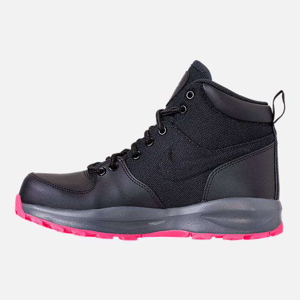 Left view of Girls' Grade School Nike Manoa '17 Boots in Black/Hyper Pink