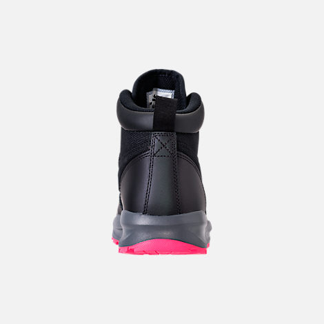 Back view of Girls' Grade School Nike Manoa '17 Boots in Black/Hyper Pink