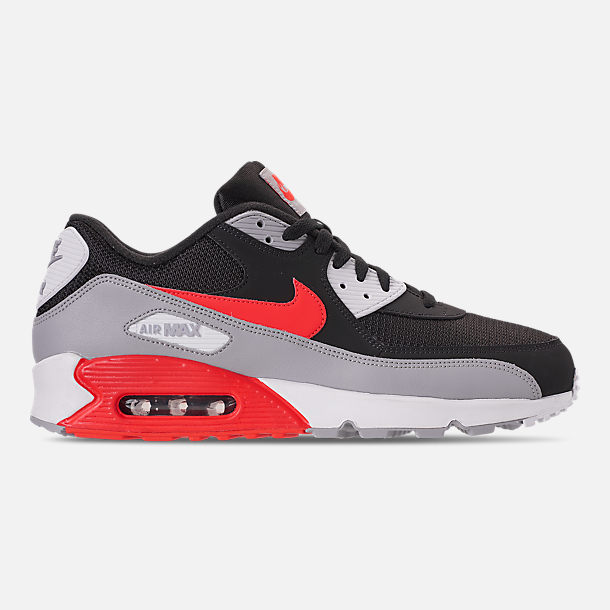 Right view of Men's Nike Air Max 90 Essential Casual Shoes in Wolf Grey/Bright Crimson/Black/White