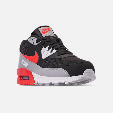 Three Quarter view of Men's Nike Air Max 90 Essential Casual Shoes in Wolf Grey/Bright Crimson/Black/White
