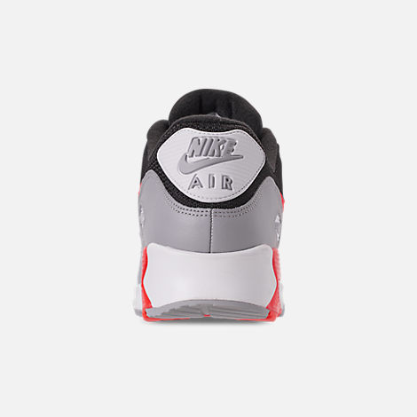 Back view of Men's Nike Air Max 90 Essential Casual Shoes in Wolf Grey/Bright Crimson/Black/White