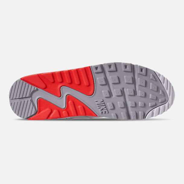 Bottom view of Men's Nike Air Max 90 Essential Casual Shoes in Wolf Grey/Bright Crimson/Black/White