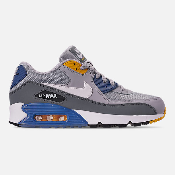 Right view of Men's Nike Air Max 90 Essential Casual Shoes in Wolf Grey/White/Indigo Storm