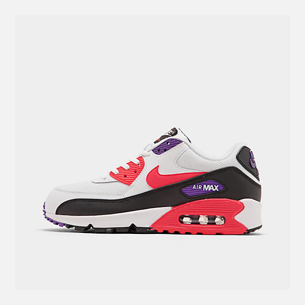 Right view of Men's Nike Air Max 90 Essential Casual Shoes in White/Red Orbit/Psychic Purple/Black