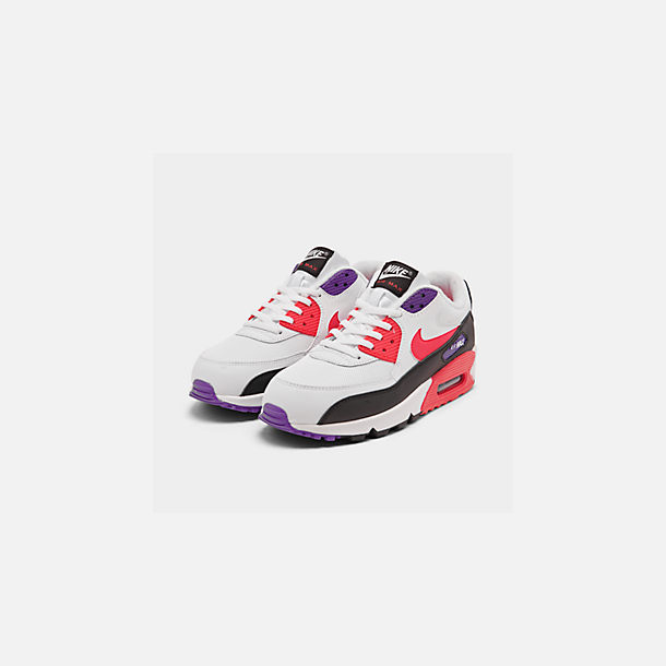 Three Quarter view of Men's Nike Air Max 90 Essential Casual Shoes in White/Red Orbit/Psychic Purple/Black