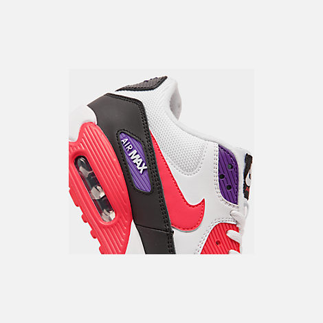 Front view of Men's Nike Air Max 90 Essential Casual Shoes in White/Red Orbit/Psychic Purple/Black