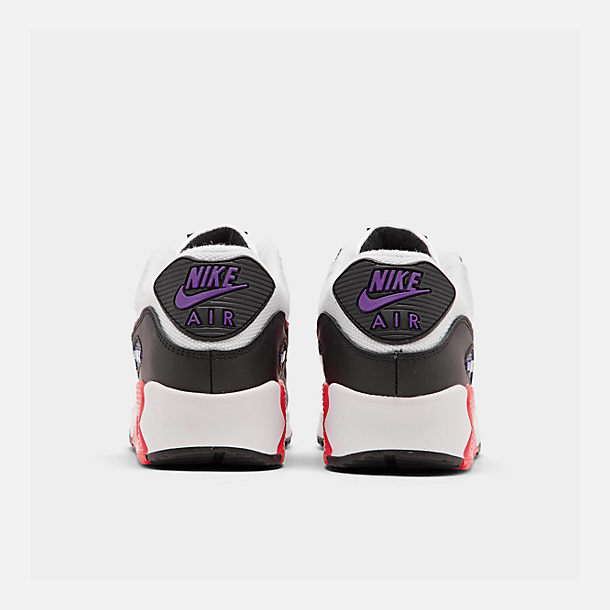 Left view of Men's Nike Air Max 90 Essential Casual Shoes in White/Red Orbit/Psychic Purple/Black