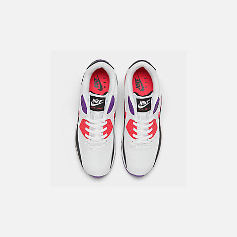 Back view of Men's Nike Air Max 90 Essential Casual Shoes in White/Red Orbit/Psychic Purple/Black
