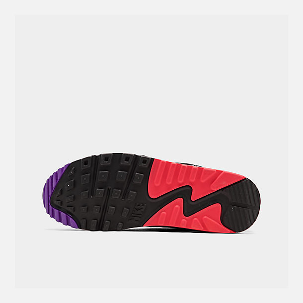 Bottom view of Men's Nike Air Max 90 Essential Casual Shoes in White/Red Orbit/Psychic Purple/Black