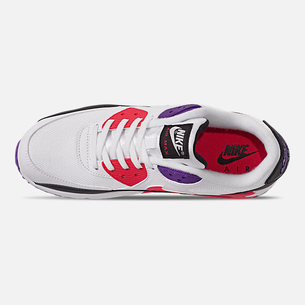 Top view of Men's Nike Air Max 90 Essential Casual Shoes in White/Red Orbit/Psychic Purple/Black