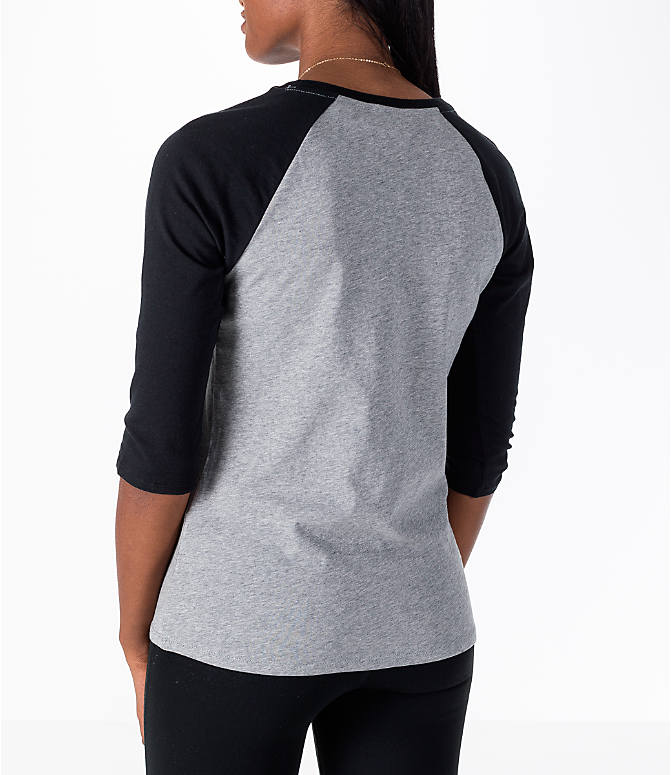Back Left view of Women's Nike Sportswear Force Raglan T-Shirt in Grey/Black