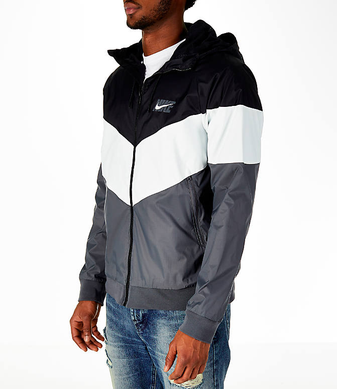 Front Three Quarter view of Men's Nike Sportswear HD GX Windrunner Jacket in Black/White/Grey