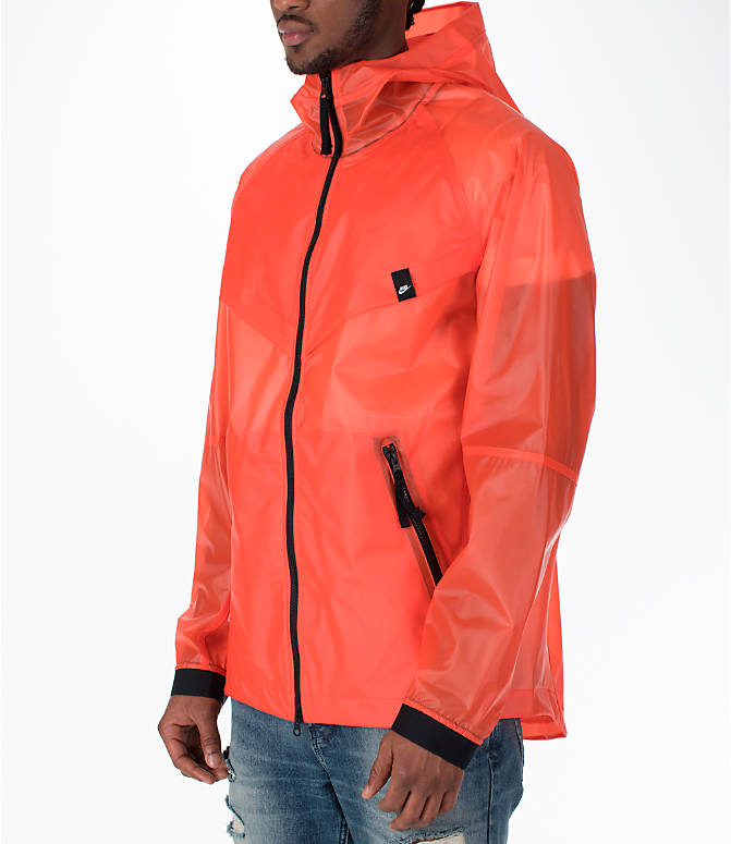 Front Three Quarter view of Men's Nike Sportswear HD QS Windrunner Jacket in Team Orange