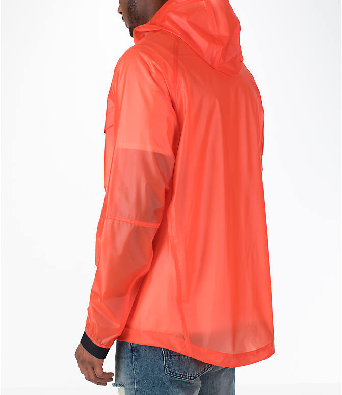 Back Left view of Men's Nike Sportswear HD QS Windrunner Jacket in Team Orange