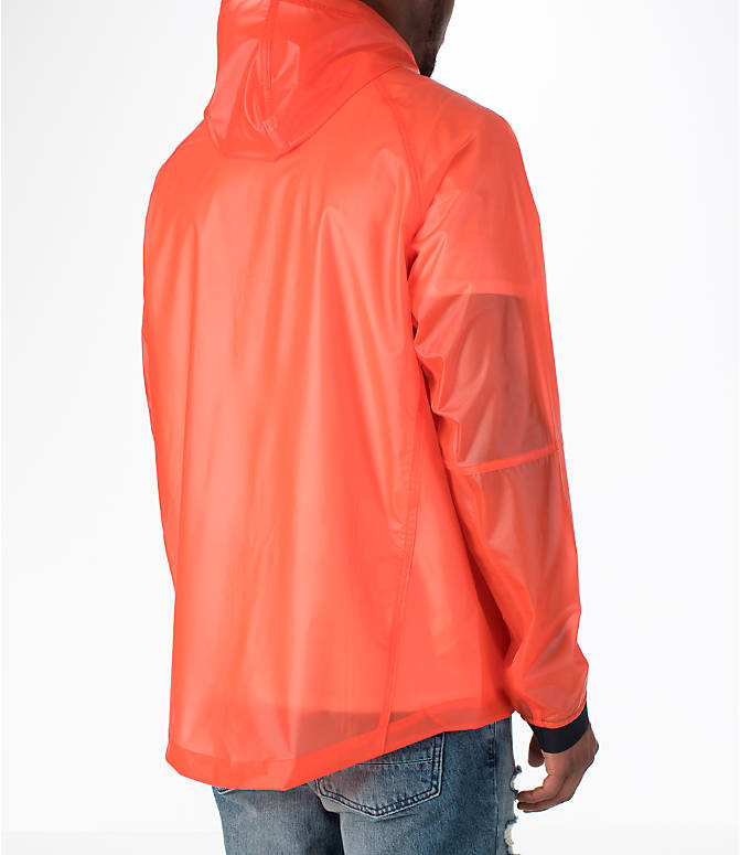 Back Right view of Men's Nike Sportswear HD QS Windrunner Jacket in Team Orange