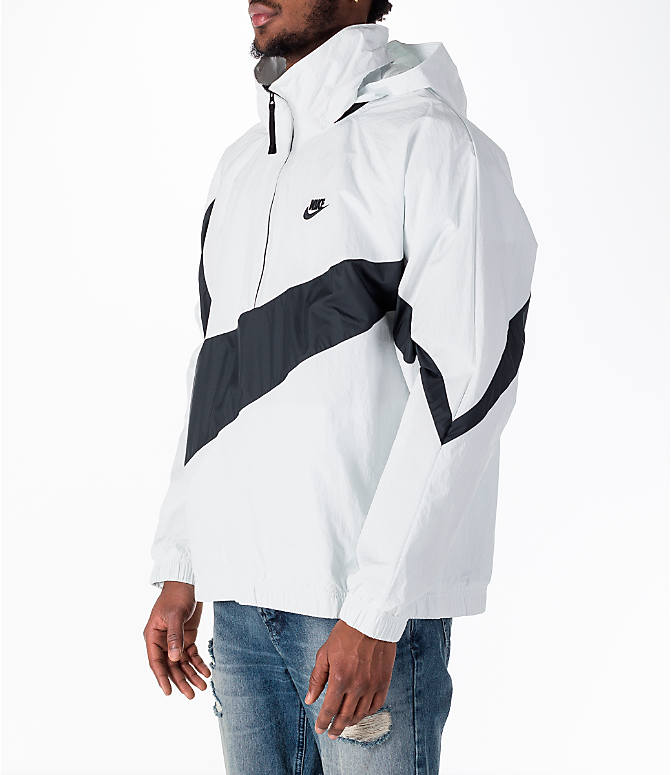 Front Three Quarter view of Men's Nike Sportswear Anorak Wind Jacket in Summit White