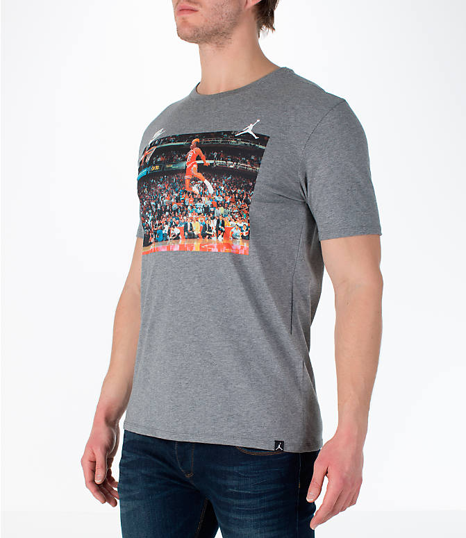 Front Three Quarter view of Men's Jordan Sportswear 1988 Dunk T-Shirt in Carbon Heather