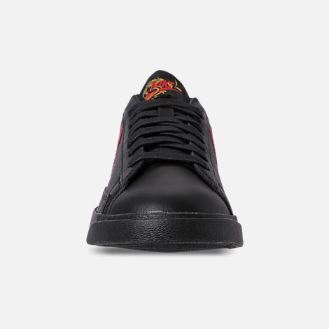 Front view of Women's Nike Blazer Low Casual Shoes in Black/University Red/Red