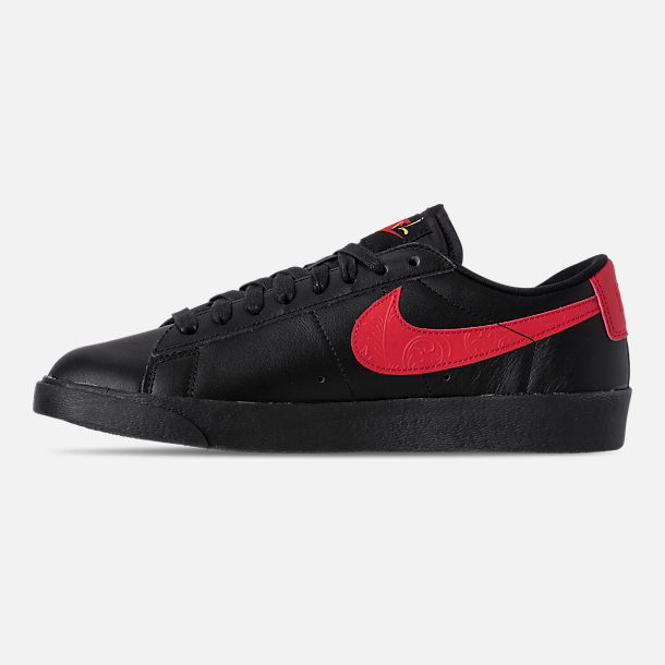 Left view of Women's Nike Blazer Low Casual Shoes in Black/University Red/Red