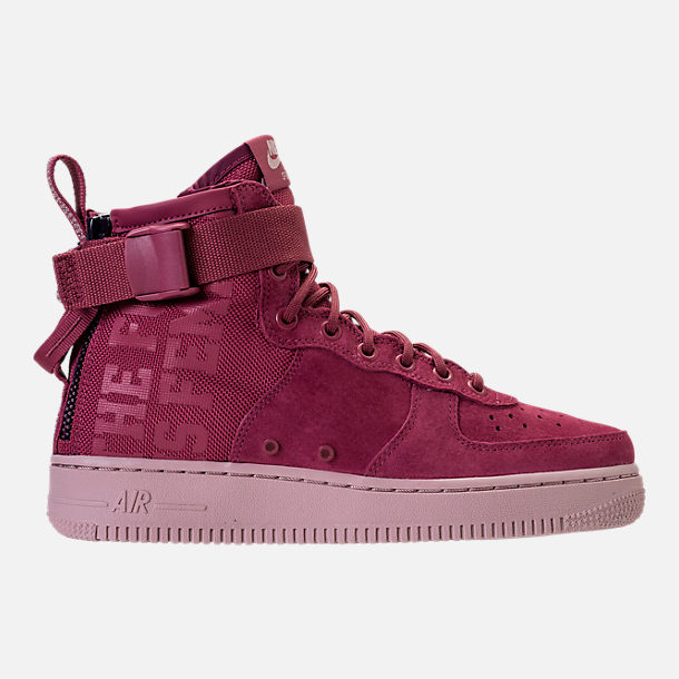 Right view of Women's Nike SF Air Force 1 Mid Boots in Vintage Wine/Vintage Wine/Particle
