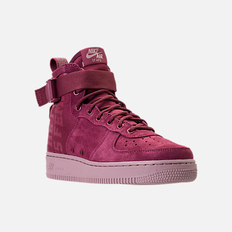 Three Quarter view of Women's Nike SF Air Force 1 Mid Boots in Vintage Wine/Vintage Wine/Particle