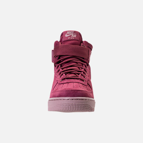 Front view of Women's Nike SF Air Force 1 Mid Boots in Vintage Wine/Vintage Wine/Particle