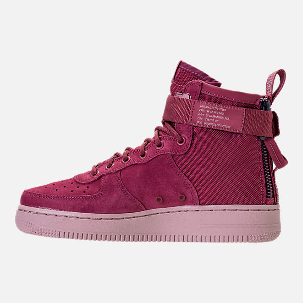 Left view of Women's Nike SF Air Force 1 Mid Boots in Vintage Wine/Vintage Wine/Particle