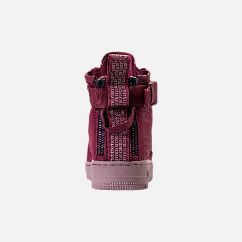 Back view of Women's Nike SF Air Force 1 Mid Boots in Vintage Wine/Vintage Wine/Particle