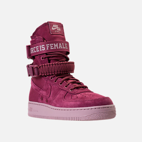 Three Quarter view of Women's Nike SF Air Force 1 Casual Shoes in Vintage Wine/Vintage Wine/Particle