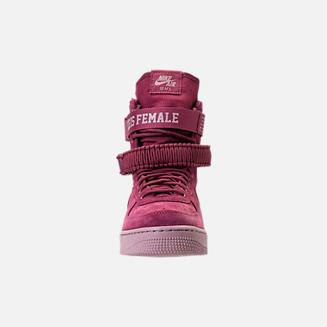 Front view of Women's Nike SF Air Force 1 Casual Shoes in Vintage Wine/Vintage Wine/Particle