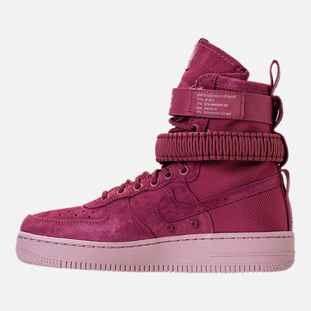 Left view of Women's Nike SF Air Force 1 Casual Shoes in Vintage Wine/Vintage Wine/Particle