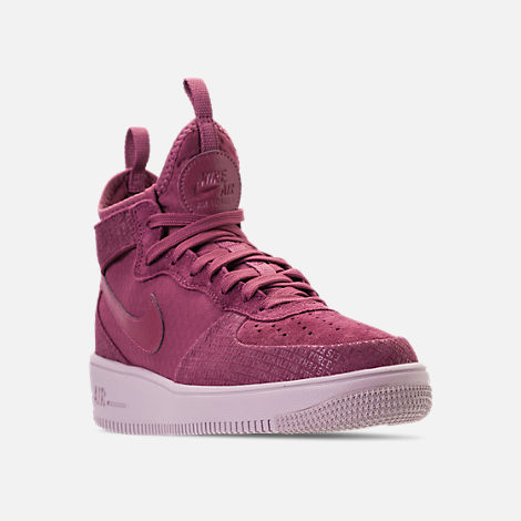 Three Quarter view of Women's Nike Air Force 1 Ultraforce Mid FIF Casual Shoes in Vintage Wine/Vintage Wine/Particle