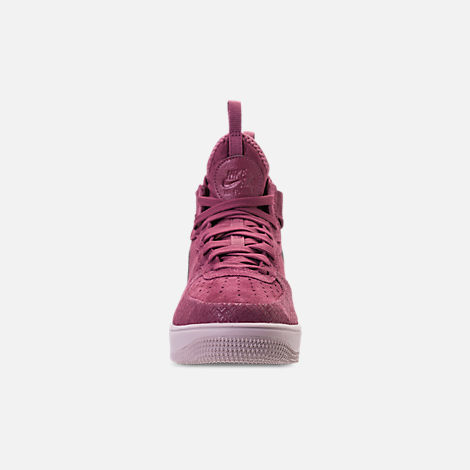 Front view of Women's Nike Air Force 1 Ultraforce Mid FIF Casual Shoes in Vintage Wine/Vintage Wine/Particle