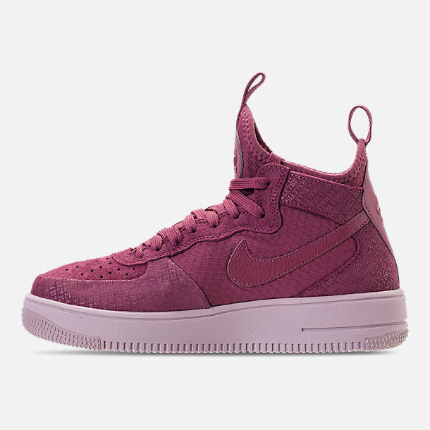 Left view of Women's Nike Air Force 1 Ultraforce Mid FIF Casual Shoes in Vintage Wine/Vintage Wine/Particle