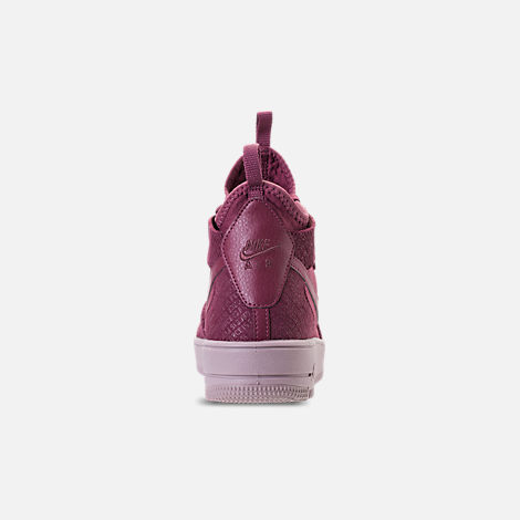 Back view of Women's Nike Air Force 1 Ultraforce Mid FIF Casual Shoes in Vintage Wine/Vintage Wine/Particle